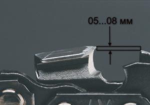 Зазор между режущим зубом бензопилы и ограничителем распила