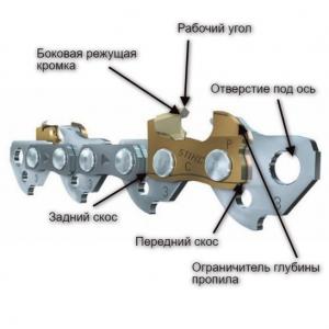 Несколько звеньев цепи бензопилы